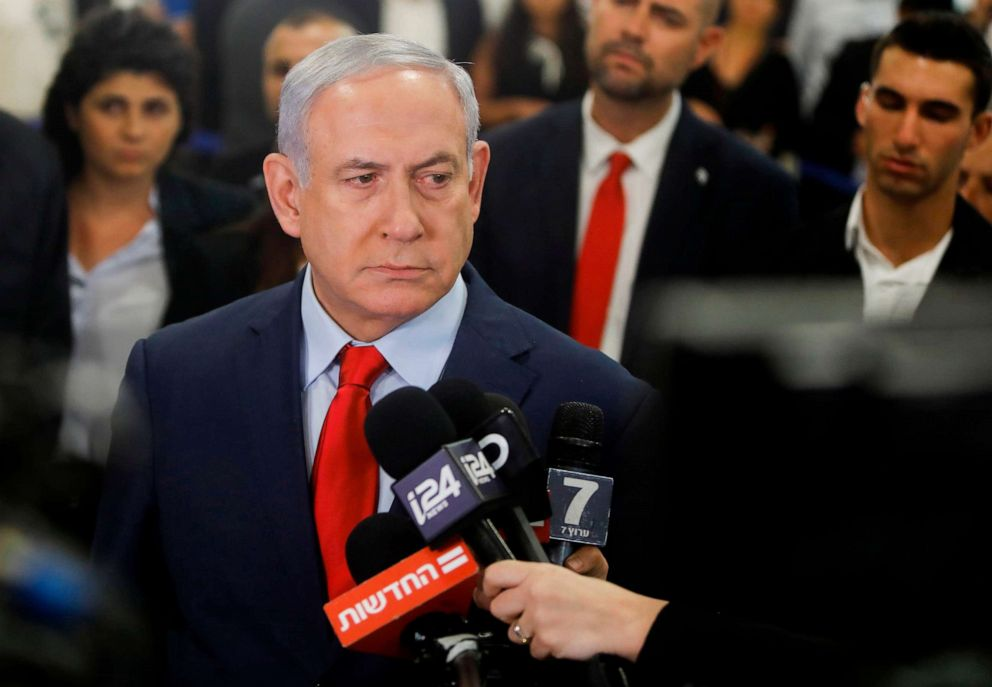 PHOTO: Israeli Prime Minister Benjamin Netanyahu talks to the press following a vote on a bill to dissolve the Knesset, May 29, 2019, at the Knesset in Jerusalem.
