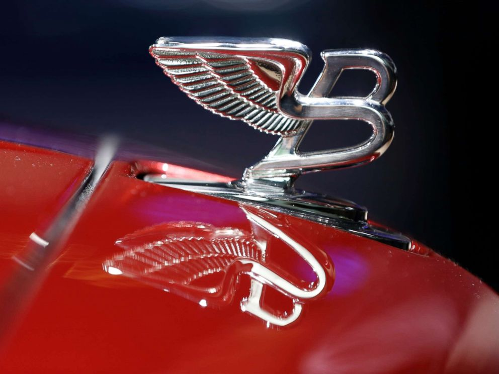PHOTO: The Bentley winged B emblem sits on the hood of an automobile at a car show in Frankfurt, Germany, Sept. 10, 2013.