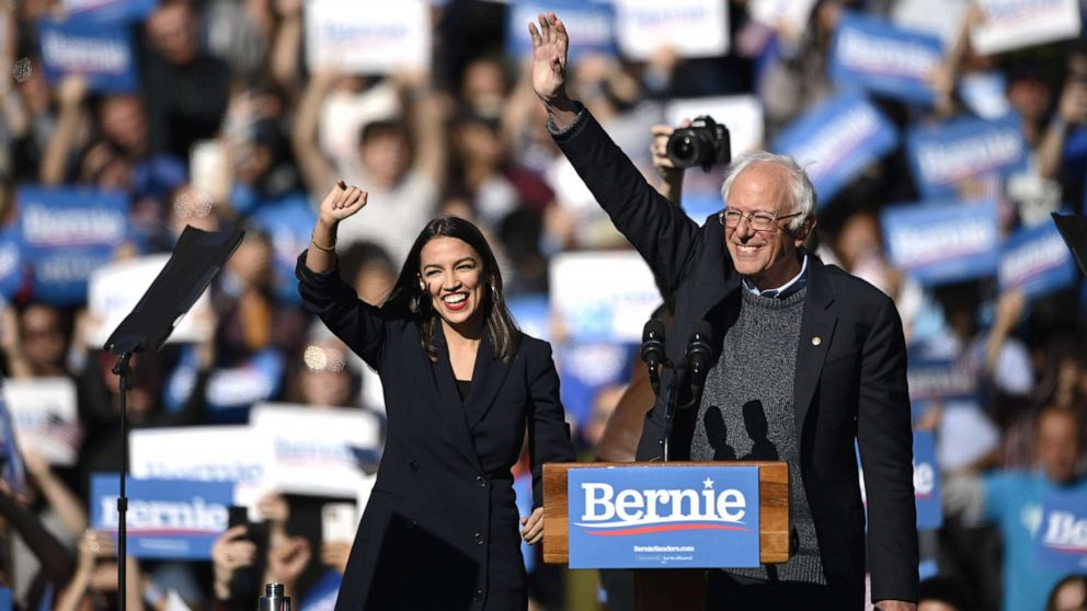 Sen. Bernie Sanders receives support from Ocasio-Cortez at NYC rally