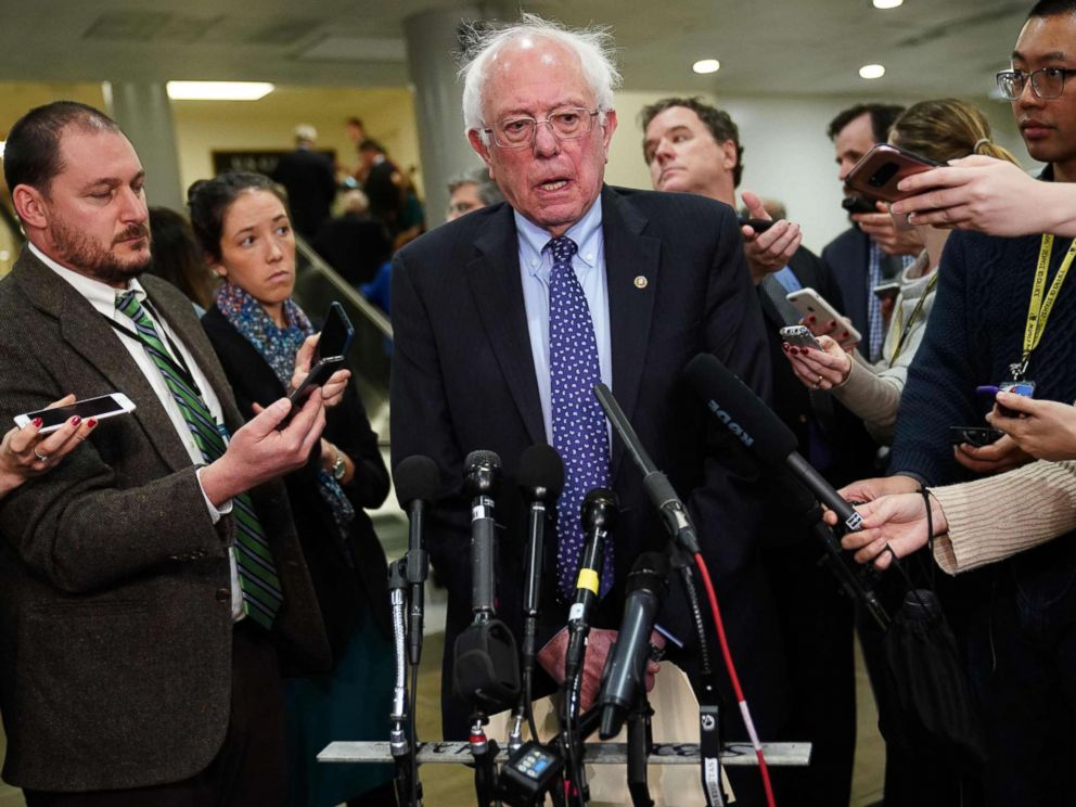 PHOTO: Bernie Sanders(I-VT) speaks to reporters at the Capitol, Nov, 28, 2018.