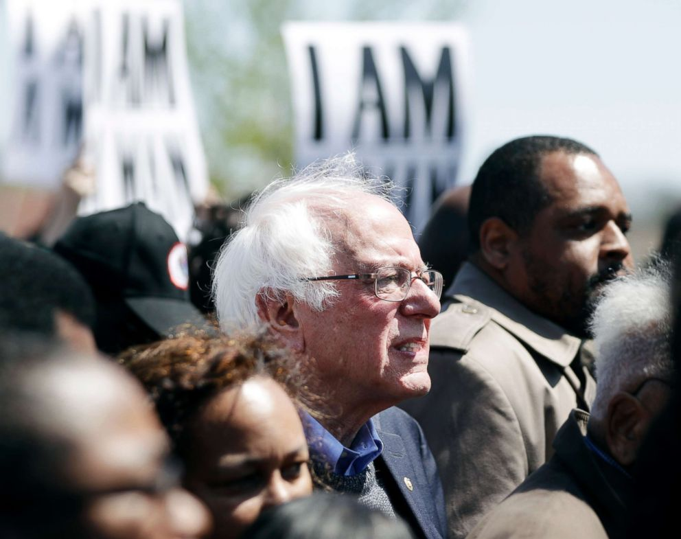 PHOTO: Sen. Bernie Sanders takes part in a march commemorating the 50th anniversary of the assassination of Rev. Martin Luther King Jr. on April 4, 2018, in Memphis, Tenn.