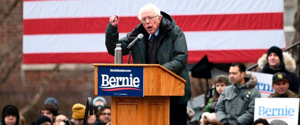 PHOTO: Senator Bernie Sanders speaks during a rally to kick off his 2020 presidential campaign, in the Brooklyn borough of New York City, March 2, 2019.