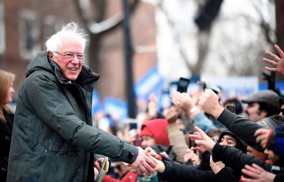 PHOTO: Senator Bernie Sanders arrives for a rally to kick off his 2020 presidential campaign, in the Brooklyn borough of New York City, March 2, 2019.