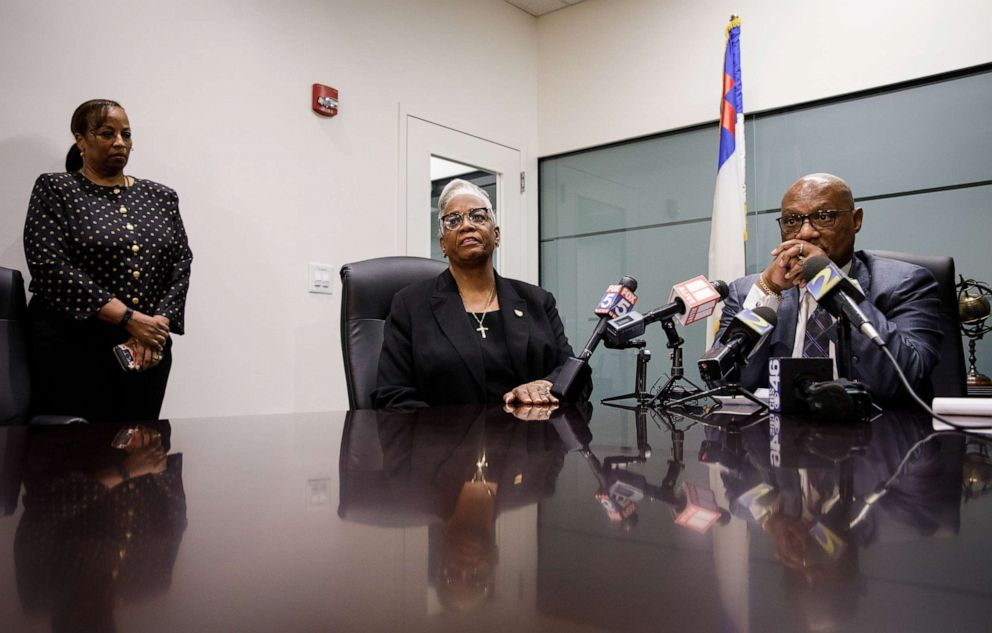 PHOTO: Rev. Dr. Michelle Rizer-Pool, pastor at the Bethel African Methodist Episcopal Church in Gainesville, Ga., speaks to reporters in Atlanta with Bishop Reginald Jackson, right, about the planned attack on her church, Nov. 19, 2019.