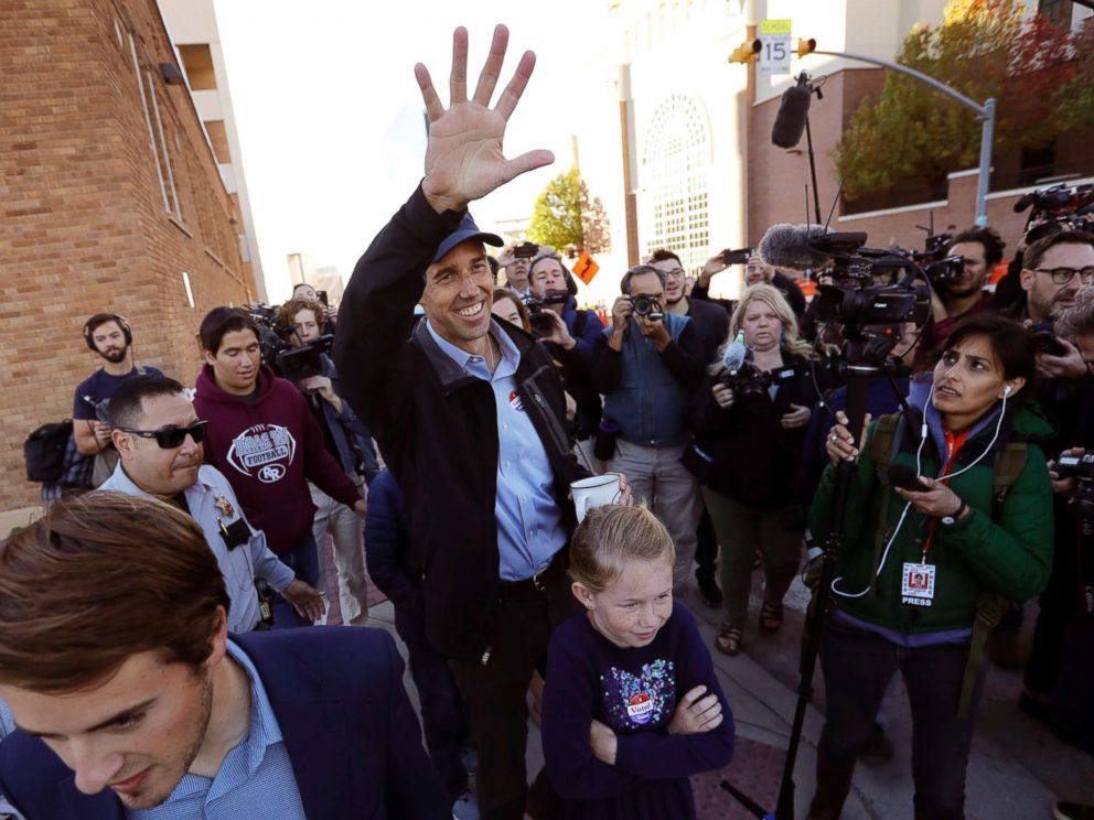 PHOTO: Rep. Beto ORourke, the 2018 Democratic Candidate for the Senate in Texas, waves to supporters as he leaves a polling place with his family after voting, Nov. 6, 2018, in El Paso, Texas.