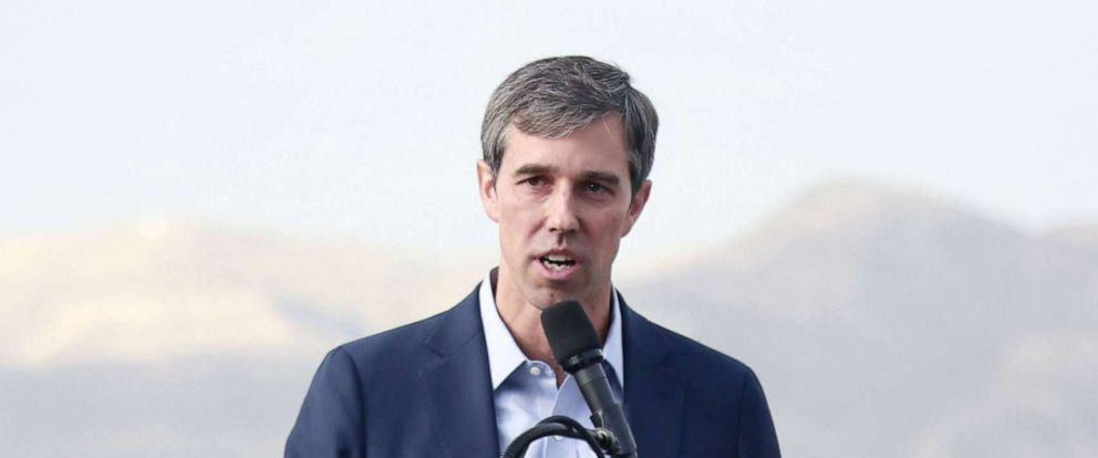 PHOTO: Democratic presidential candidate, former Rep. Beto ORourke speaks to media and supporters during a campaign re-launch on August 15, 2019, in El Paso, Texas.
