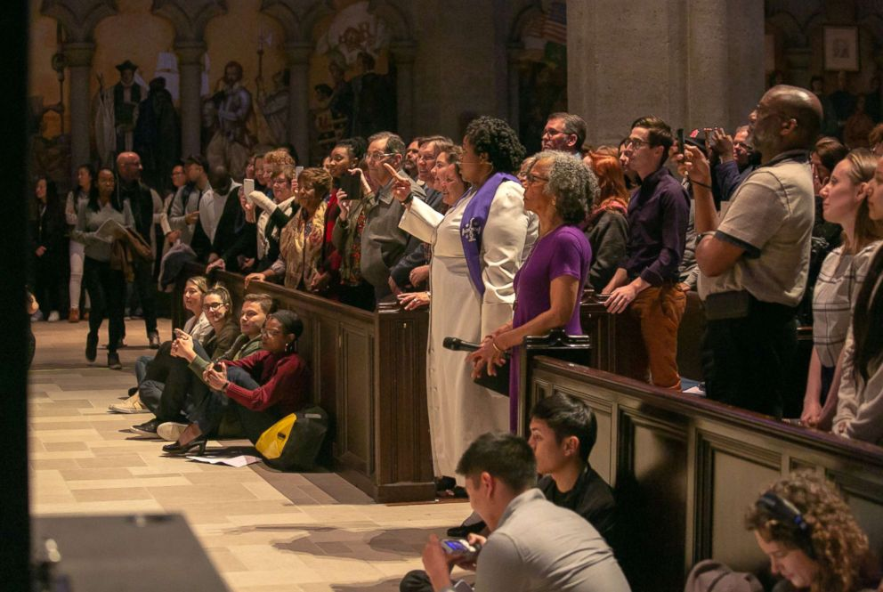 PHOTO: Attendance was high for mass at Grace Cathedral in San Francisco, April 25, 2018. The Beyonce-themed mass featuring music from the pop star mixed in with prayers, readings and preaching led by Reverend Yolanda Norton.