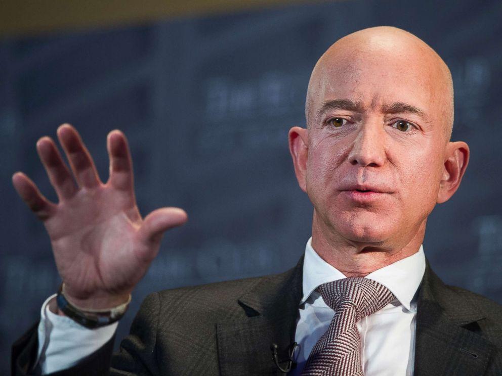 PHOTO: Jeff Bezos, Amazon founder and CEO, speaks at The Economic Club of Washingtons Milestone Celebration in Washington D.C., Sept. 13, 2018.
