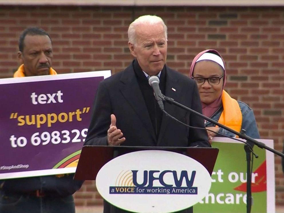 PHOTO: Former Vice President Joe Biden speaks outside of a Shop & Stop in Boston, April 18, 2019.