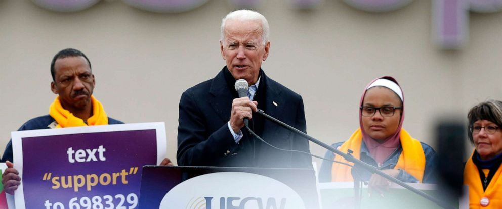 PHOTO: Former Vice President Joe Biden speaks at a rally in support of striking Stop & Shop workers in Dorchester, Mass., April 18, 2019.
