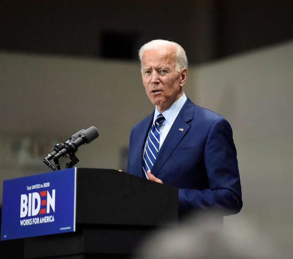 PHOTO: Democratic presidential candidate and former vice president Joe Biden speaks at a campaign event in Sumter, S.C., July 6, 2019.