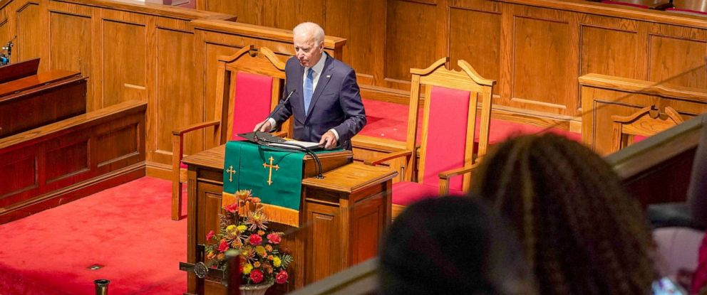 "PHOTO: Democratic presidential candidate and former Vice President Joe Biden speaks at the ""56th Memorial Observance of the Birmingham Church Bombing"" at the 16th St Baptist Church in Birmingham, Alabama, Sept. 15, 2019."