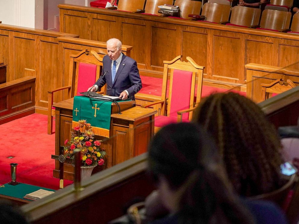 PHOTO: Democratic presidential candidate and former Vice President Joe Biden speaks at the 56th Memorial Observance of the Birmingham Church Bombing at the 16th St Baptist Church in Birmingham, Alabama, Sept. 15, 2019.
