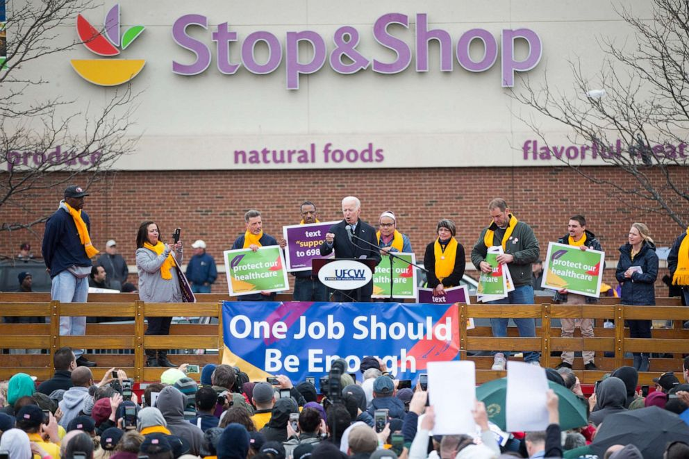 PHOTO:Former Vice President Joe Biden speaks in front of a Stop & Shop in support of union workers, April 18, 2019, in Dorchester, Mass.