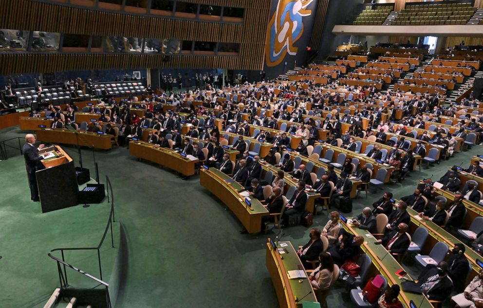 PHOTO: President Joe Biden addresses the 76th Session of the United Nations General Assembly at U.N. headquarters in New York, Sept. 21, 2021.