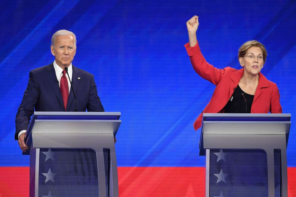 PHOTO: Democratic presidential hopefuls Joe Biden and Elizabeth Warren participate in the third Democratic primary debate hosted by ABC News in partnership with Univision at Texas Southern University in Houston, Texas, Sept. 12, 2019.