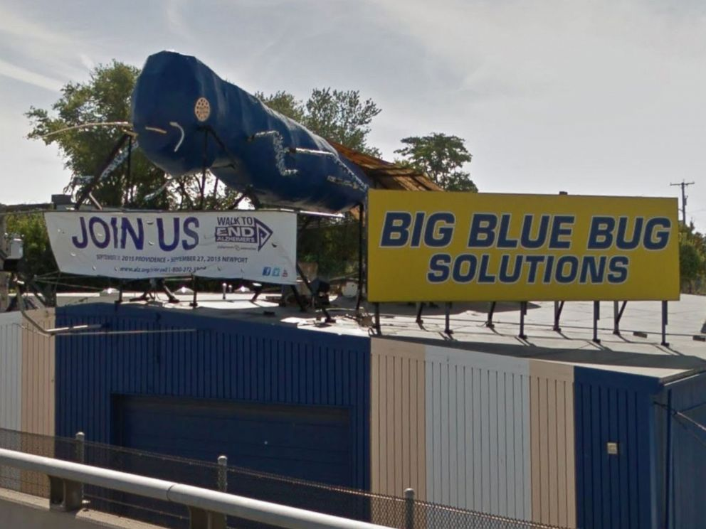 PHOTO: The Big Blue Bug, the giant termite mascot of Big Blue Bug Solutions located along I-95 in Providence, R.I., is pictured in this image from Google Maps.