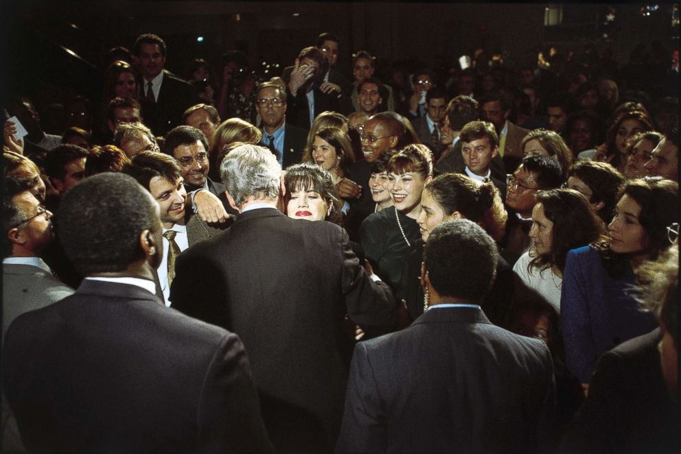 PHOTO: Monica Lewinsky embraces President Bill Clinton at a democratic fundraiser, Oct. 23, 1996.