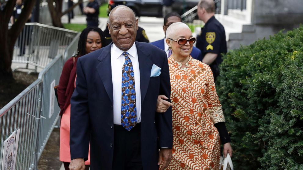 Bill Cosby arrives with his wife, Camille, for his sexual assault trial, April 24, 2018, at the Montgomery County Courthouse in Norristown, Pa.