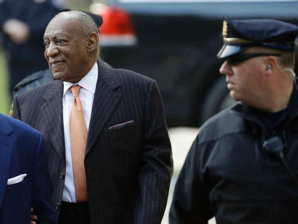 PHOTO: Bill Cosby, center, arrives for his sexual assault trial, April 10, 2018, at the Montgomery County Courthouse in Norristown, Pa.