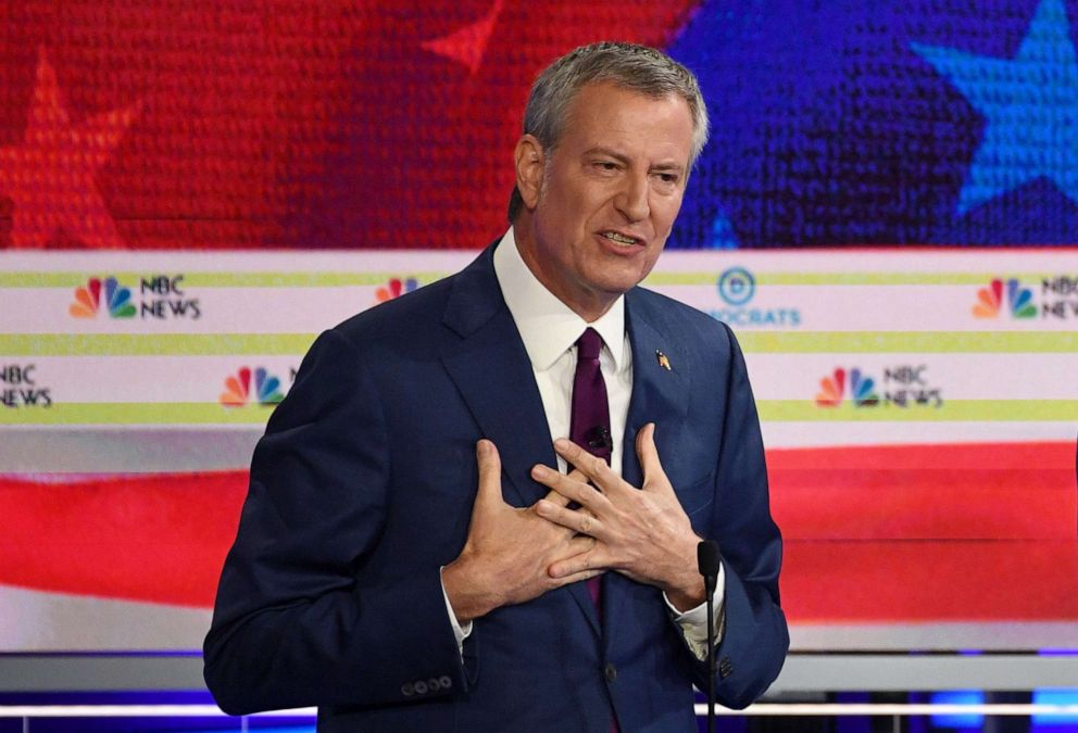 PHOTO: Bill de Blasio participates in the first Democratic primary debate hosted by NBC News at the Adrienne Arsht Center for the Performing Arts in Miami, Florida, June 26, 2019.