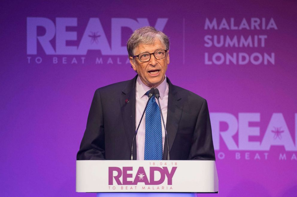 PHOTO: Bill Gates makes a speech at the Malaria Summit on the third day of the Commonwealth Heads of Government Meeting (CHOGM) in London, April 18, 2018.