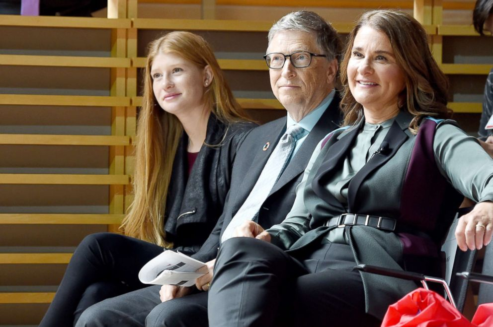 PHOTO: Phoebe Adele Gates, Bill Gates, and Melinda Gates attend the Goalkeepers 2017, at Jazz at Lincoln Center on Sept. 20, 2017 in New York City. <p itemprop=