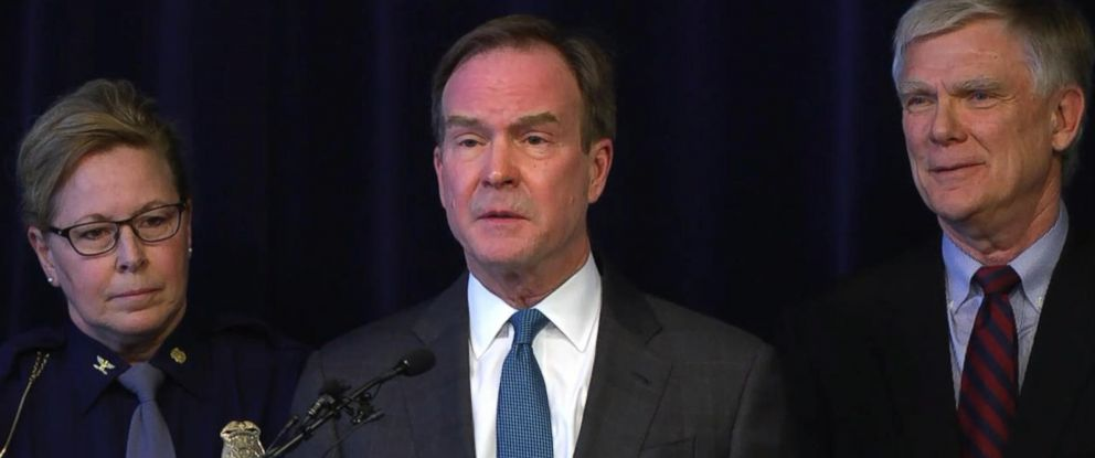PHOTO: Michigan Attorney General Bill Schuette announced at a press conference, Jan. 27, 2018, that he has an open and ongoing investigation into systemic issues with sexual misconduct at Michigan State University that began in 2017.