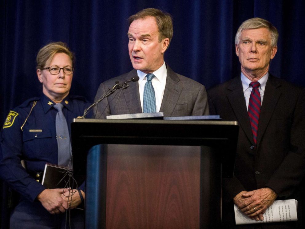 PHOTO: Attorney General Bill Schuette announces an open and ongoing investigation into the systemic issues with sexual misconduct at Michigan State University that began in 2017, Jan. 27, 2018, at the G. Mennen Williams Building in Lansing, Mich.