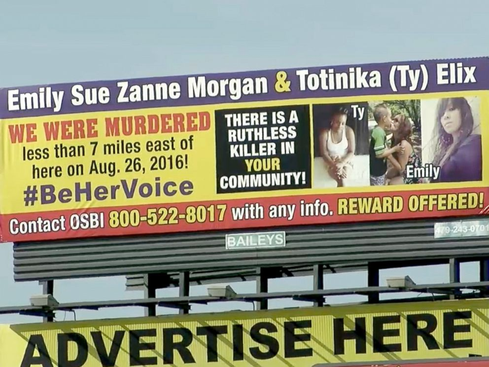 PHOTO: A grieving mother has arranged to have this billboard on display near the site where her murdered daughter was found in 2016.