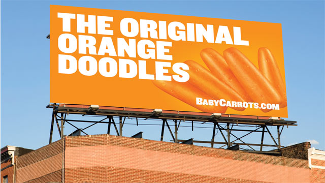 PHOTO: A billboard for carrots that epitomizes Bolthouse Farms cutting-edge campaign to market carrots as if they were junk food.