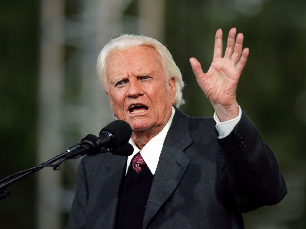 PHOTO: The Rev. Billy Graham, 86, delivers his sermon to a crowd of about 80,000 on the second day of the Greater New York Billy Graham Crusade at Flushing Meadows-Corona Park in Queens, New York, June 25, 2005.