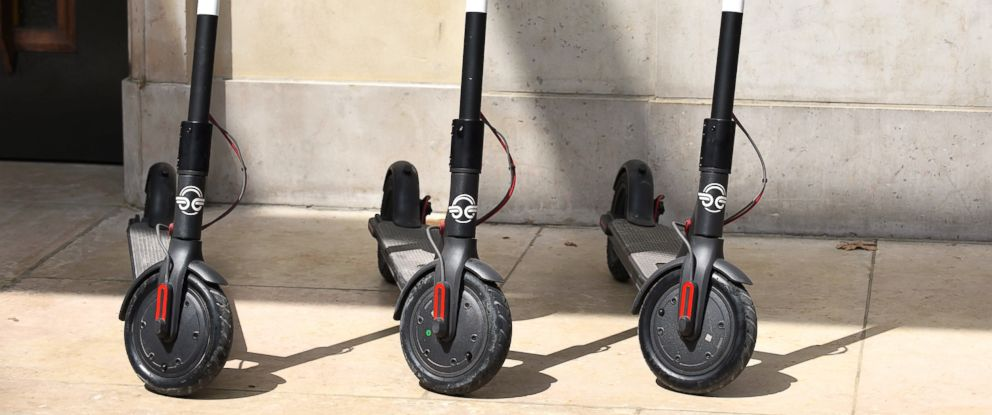 PHOTO: Electric scooters are pictured in Paris, Aug. 1, 2018.