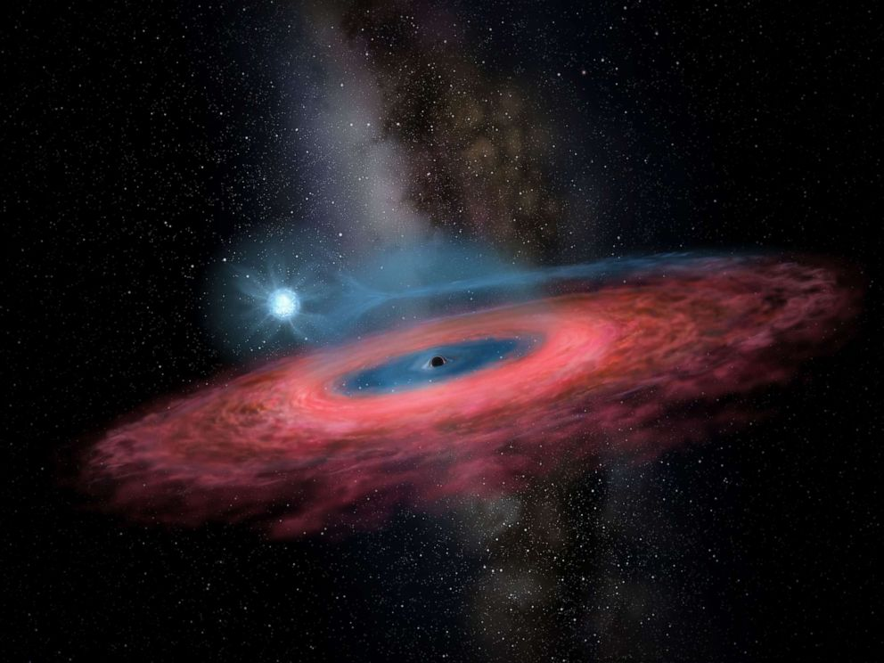 PHOTO: A rendering by artist Yu Jingchuan of the accretion of gas onto a stellar black hole from its blue companion star, through a truncated accretion disk.