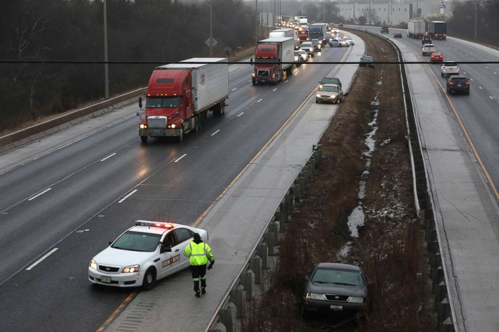 PHOTO: Freezing rain and black ice caused hazardous driving conditions in many Chicago area suburbs, including Interstate 80 near Harlem Avenue, Jan. 24, 2018 in Tinley Park, Ill.