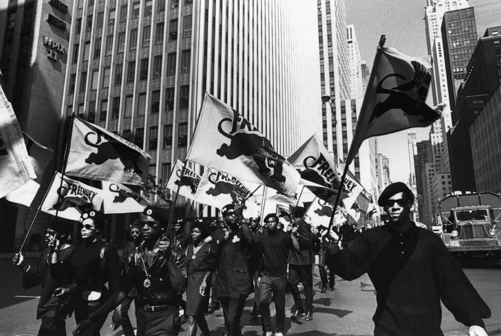 PHOTO: The Black Panthers march in protest of the trial of co-founder Huey P. Newton in Oakland, California.
