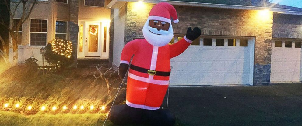 PHOTO: The Richards black Santa inflatable sits on their front yard after setting it up on Dec. 12, 2018, in Bethany, Ore.