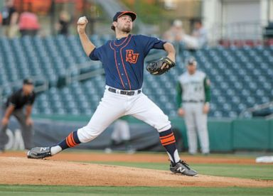 PHOTO: In this September 3, 2016, file photo, Bowling Green Hot Rods pitcher Blake Bivens throws a pitch during a MiLB game between the Lansing Lugnuts vs the Bowling Green Hot Rods in Bowling Green, Kentucky.