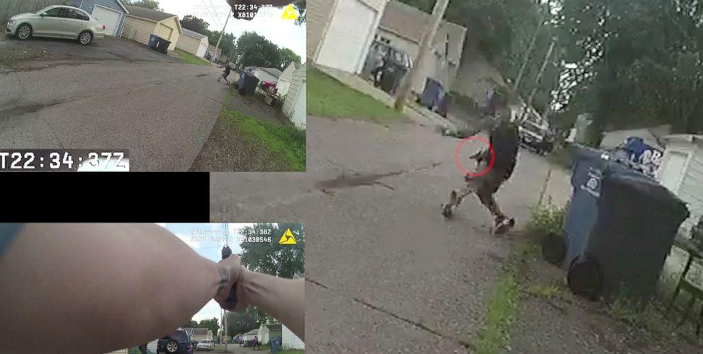 This June 23, 2018, image from multiple police cam videos provided by the Minneapolis Police Department shows a chase between Officers Justin Schmidt and Ryan Kelly and suspect Thurman Blevins, in Minneapolis.