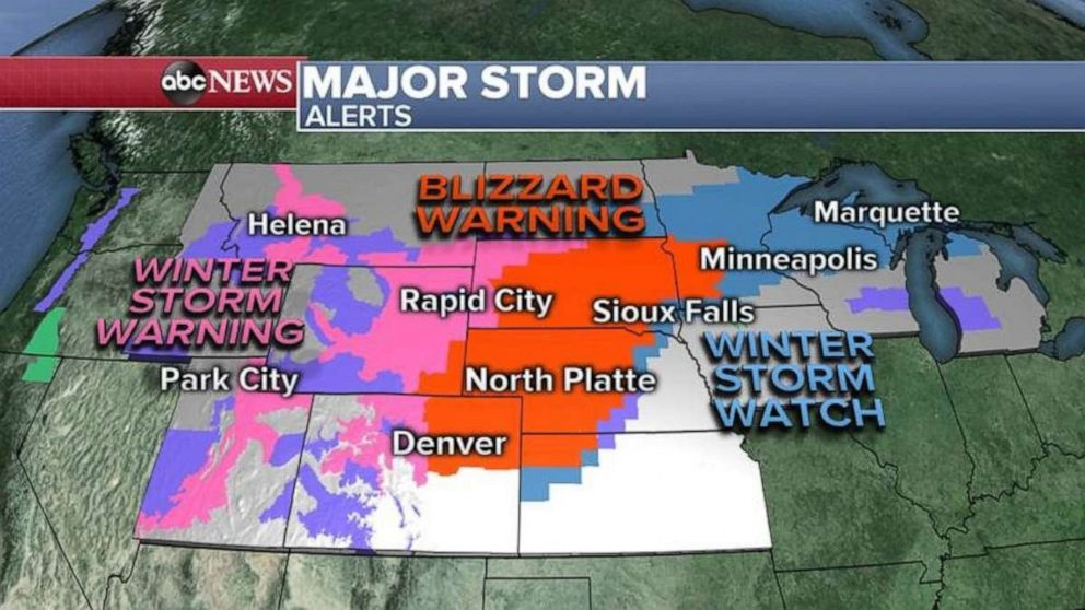 PHOTO: A blizzard warning stretches through much of the Northern and Central Plains on Wednesday.