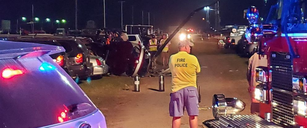PHOTO: Three people on board a helicopter were injured when it crashed in the parking lot of the Bloomsburg Fair in Bloomsburg, Pa., on Saturday, Sept. 28, 2019.