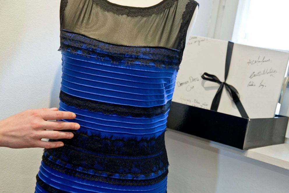 PHOTO: A striped dress that became an internet sensation is exhibited a the museum in Nuremberg, Germany, March 9, 2015.