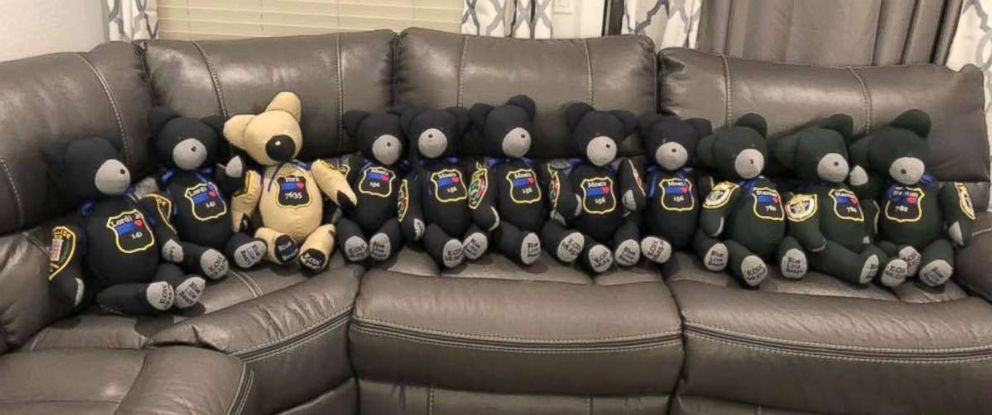 PHOTO: The bears are made from parts of the officers uniforms.