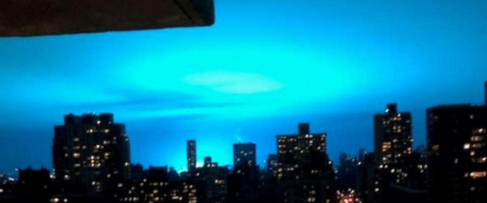 PHOTO: The NYPD is investigating a transformer explosion that caused the sky to turn blue above New York City Thursday night. December 27, 2018.