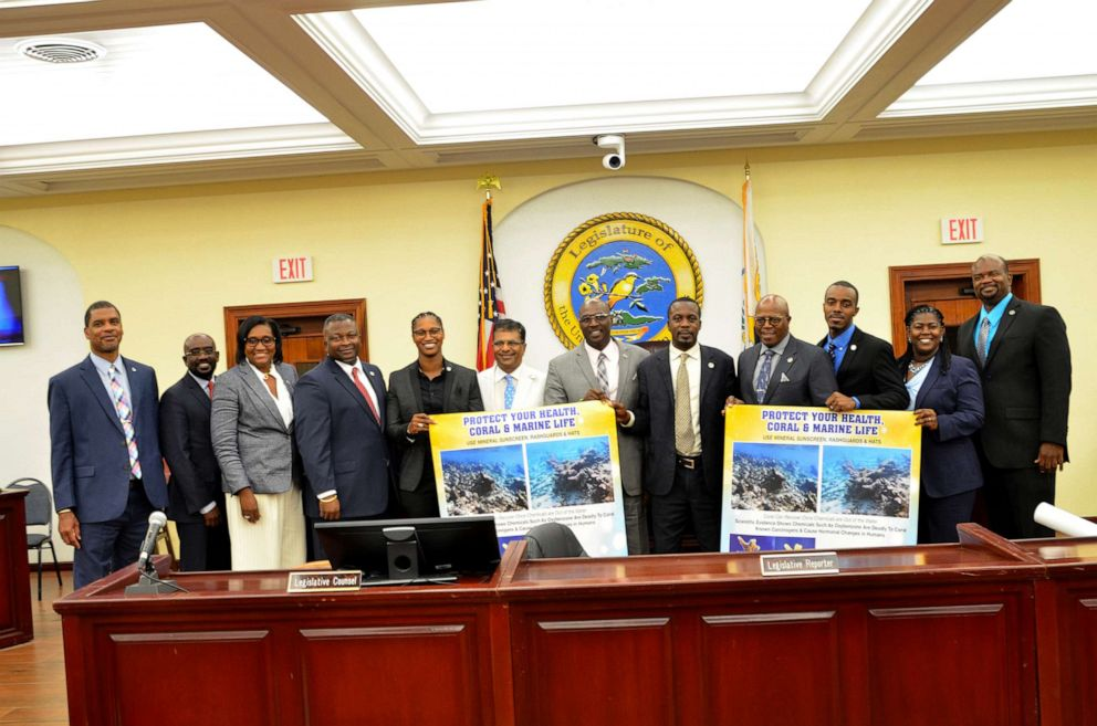 PHOTO: Members of the USVI Senate with Island Green Living Association President Harith Wickrema upon the passage of toxic sunscreen ban legislation, Bill No. 33-0043 on June 25, 2019.
