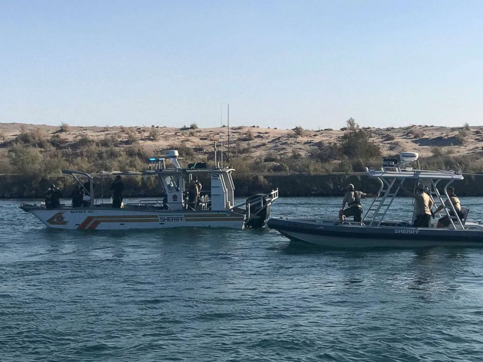 PHOTO: Law enforcement responds to a boating crash on the Colorado River, Sept. 2, 2018. Two vessels collided the night before.