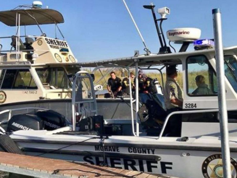 PHOTO: Units from the Mohave County Sheriffs Office Division of Boating Safety photographed on Sept. 2, 2018, the day after a boating crash on the Colorado River.