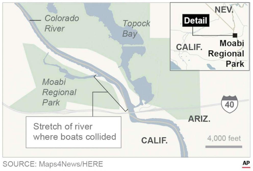Map locates where boats collide on Colorado River.