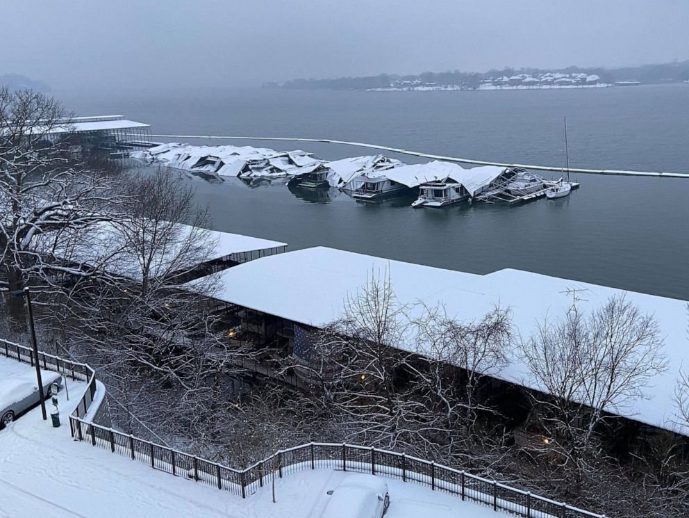 PHOTO: The roof of a dock sits collapsed in Blue Turtle Bay Marina in Old Hickory, Tenn., Feb. 18, 2021.