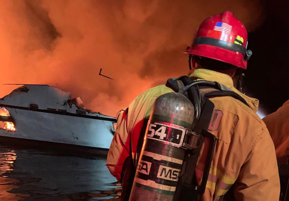 PHOTO: The Ventura County Fire Department at the scene of a boat fire off the coast off Santa Cruz, Calif., Sept. 2, 2019.